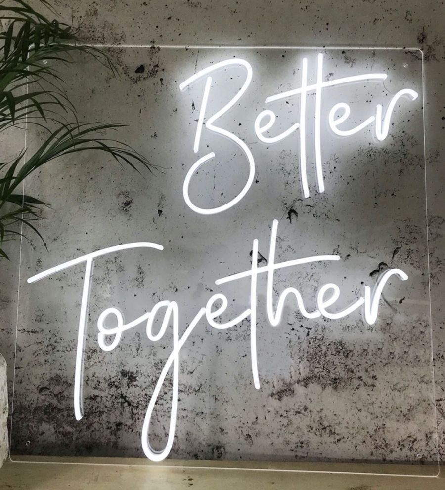 Better Together LED Neon Sign (Custom Options: Color, Size, Dimmable, Plug-in/Battery Operated, Wall Mounted, Self Standing, Hanging from Window/Ceiling, Indoor/Outdoor Use)