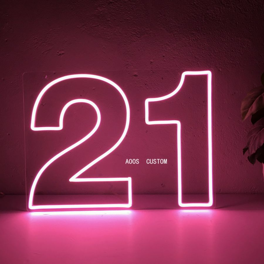 Birthday Numbers 21st Party Anniversary Holiday Festive Birth Age Lettering LED Neon Sign (Custom Options: Color, Size, Dimmable, Plug-in/Battery Operated, Wall Mounted, Self Standing, Hanging from Window/Ceiling, Indoor/Outdoor Use)