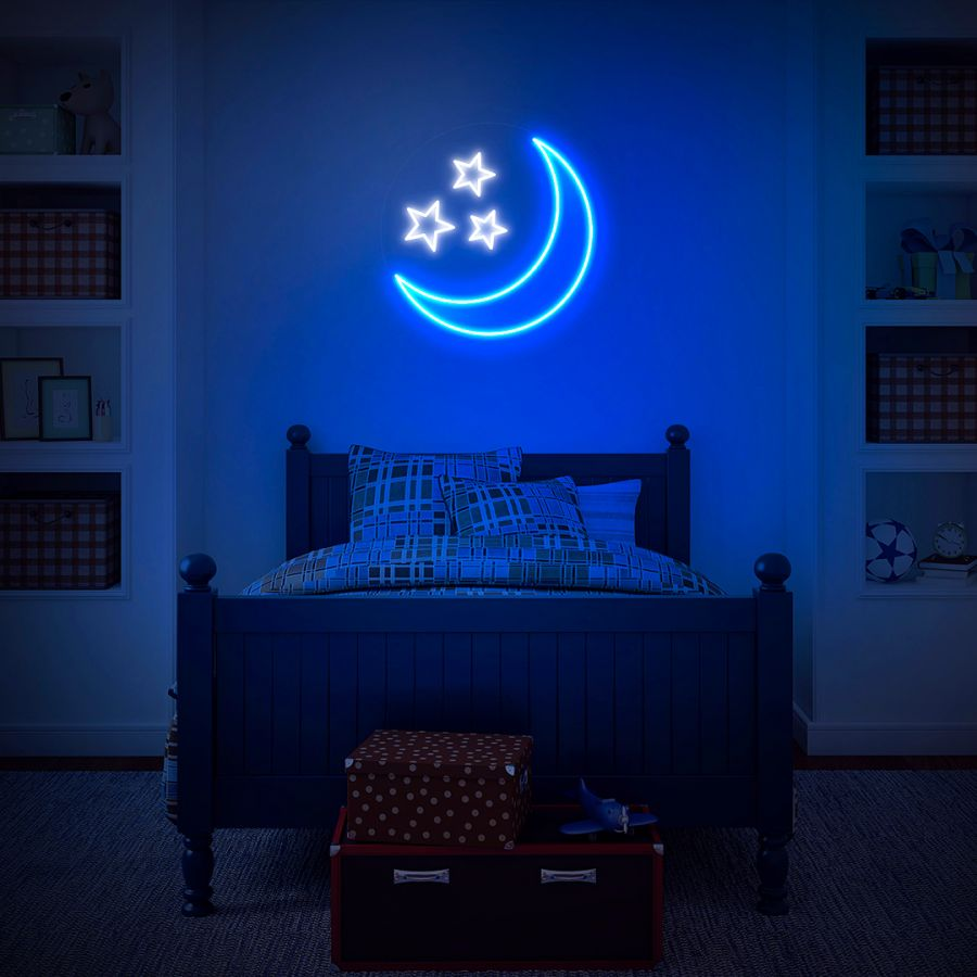 Blue Moon Stars The Night Is Alright Neon Sign