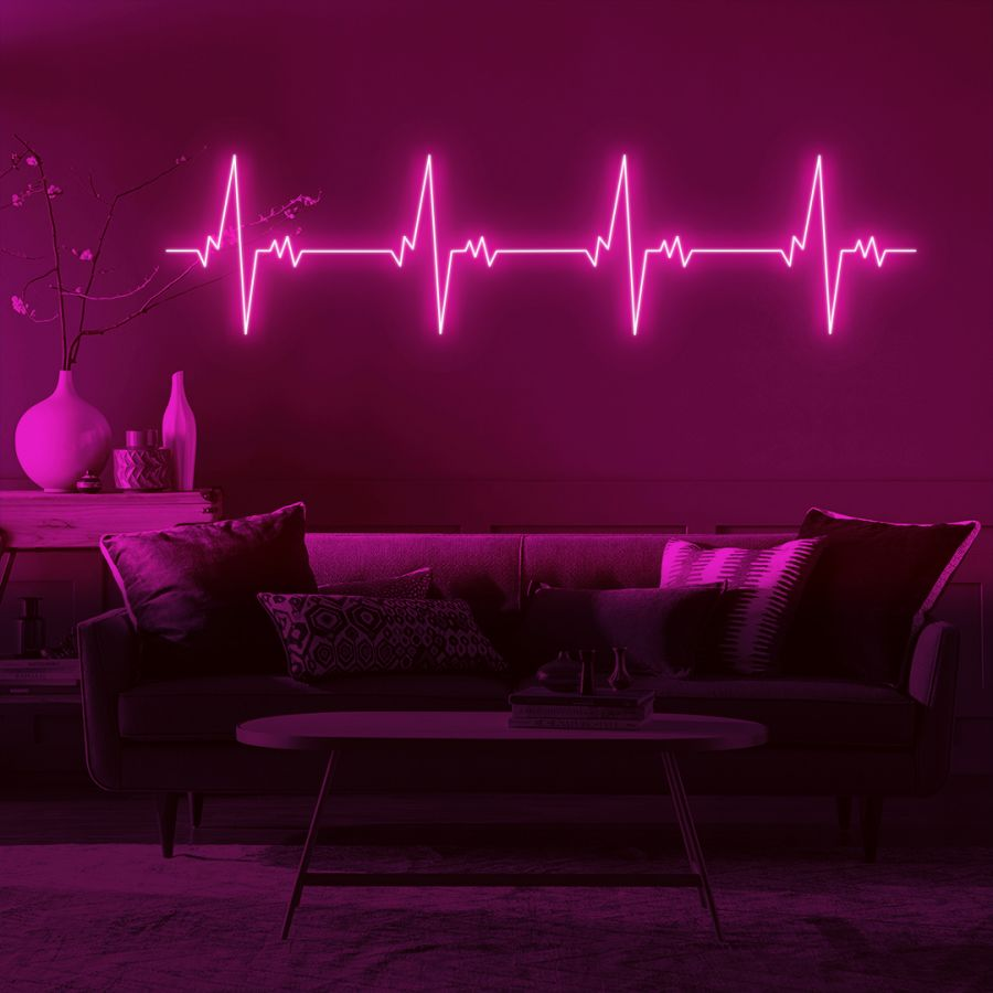 Heartbeat LED Neon Sign (Custom Options: Color, Size, Dimmable, Plug-in/Battery Operated, Wall Mounted, Self Standing, Hanging from Window/Ceiling, Indoor/Outdoor Use)