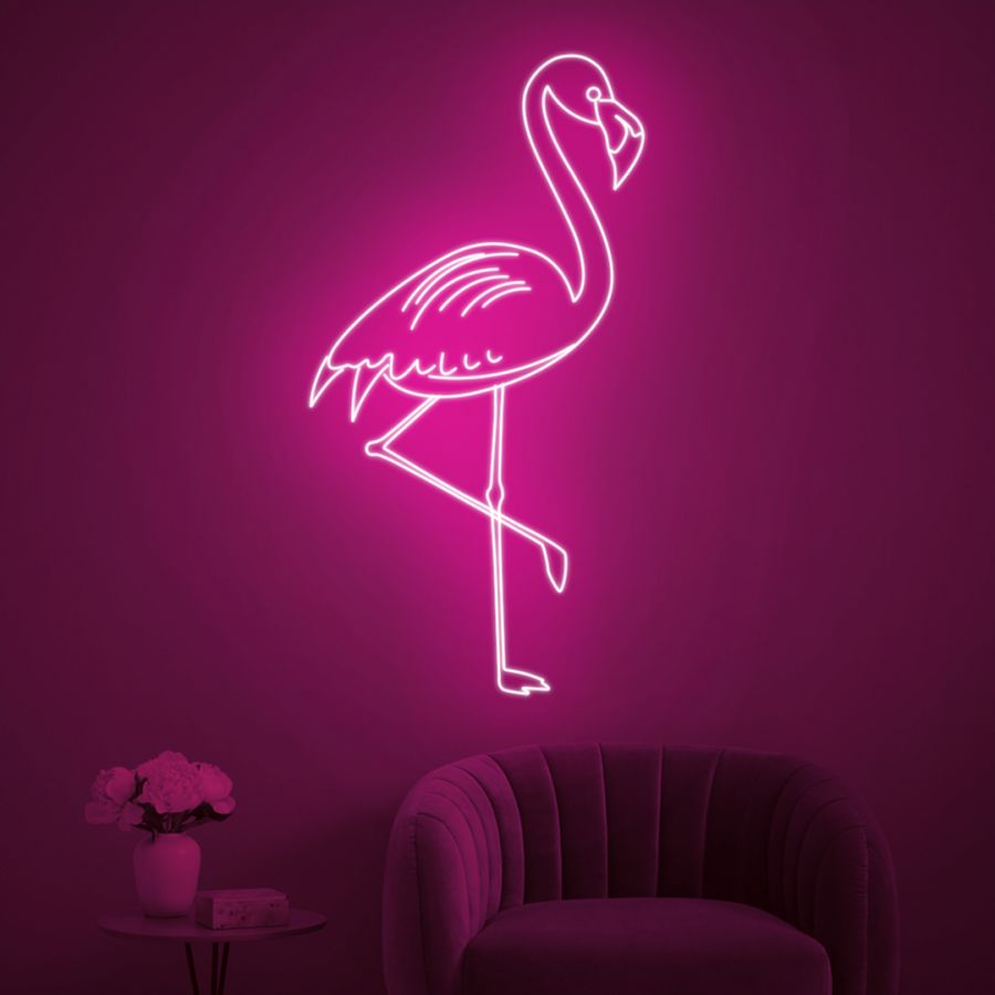 Pink Flamingo LED Neon Sign (Custom Options: Color, Size, Dimmable, Plug-in/Battery Operated, Wall Mounted, Self Standing, Hanging from Window/Ceiling, Indoor/Outdoor Use)