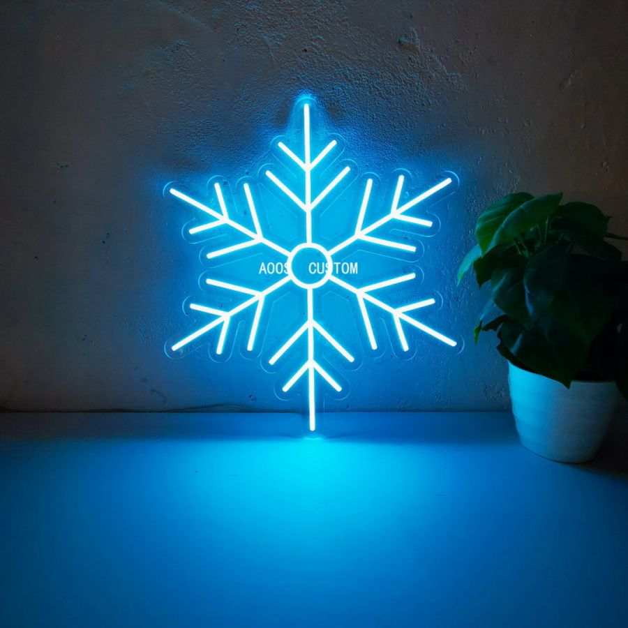 Snowflake LED Neon Sign (Custom Options: Color, Size, Dimmable, Plug-in/Battery Operated, Wall Mounted, Self Standing, Hanging from Window/Ceiling, Indoor/Outdoor Use)