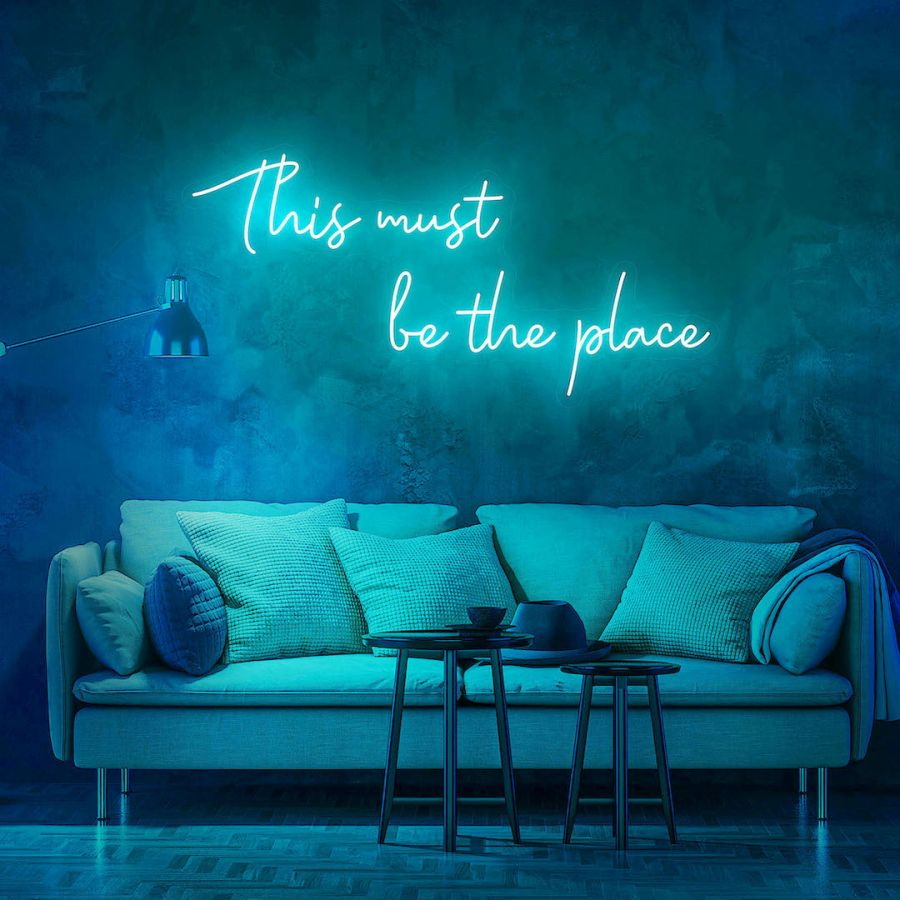 This Must Be The Place LED Neon Sign (Custom Options: Color, Size, Dimmable, Plug-in/Battery Operated, Wall Mounted, Self Standing, Hanging from Window/Ceiling, Indoor/Outdoor Use)