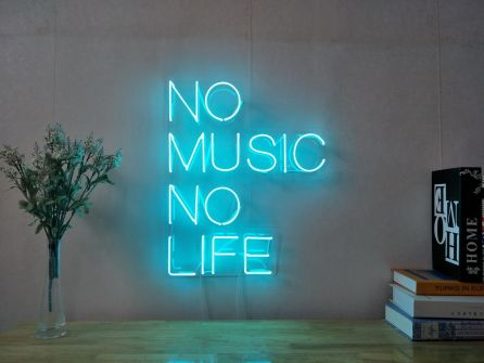 No Music No Life Custom Dimmable LED Neon Signs for Wall Decor (Customization Options: Color, Size, Dimming, Wall Mounted, Desktop Type, Hanging in a Window/Ceiling,Indoor/Outdoor Use,Electrical/Battery Powered)