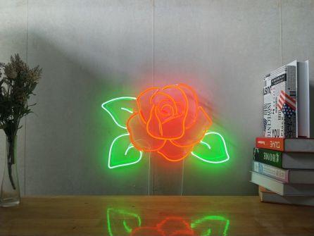 Rose Custom Dimmable LED Neon Signs for Wall Decor (Customization Options: Color, Size, Dimming, Wall Mounted, Desktop Type, Hanging in a Window/Ceiling,Indoor/Outdoor Use,Electrical/Battery Powered)