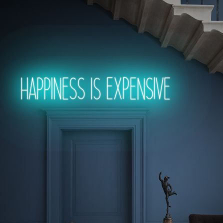 Happiness Is Expensive LED Neon Sign (Custom Options: Color, Size, Dimmable, Plug-in/Battery Operated, Wall Mounted, Self Standing, Hanging from Window/Ceiling, Indoor/Outdoor Use)