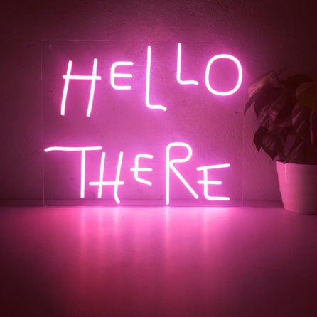 Hello There Hell Here LED Neon Sign (Custom Options: Color, Size, Dimmable, Plug-in/Battery Operated, Wall Mounted, Self Standing, Hanging from Window/Ceiling, Indoor/Outdoor Use)